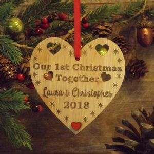 First 1st Christmas as Mr & Mrs Married Personalised Heart ...